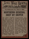 1962 Topps Civil War News #62  The General Dies  Back Thumbnail