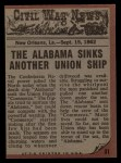 1962 Topps Civil War News #31   Terror of the Sea Back Thumbnail