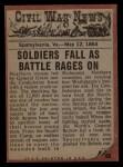 1962 Topps Civil War News #65   Flaming Death Back Thumbnail