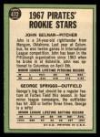 1967 Topps #472  Pirates Rookies  -  John Gelner / George Spriggs Back Thumbnail