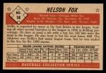 1953 Bowman #18   Nellie Fox Back Thumbnail