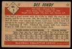 1953 Bowman Black and White #5   Dee Fondy Back Thumbnail