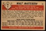 1953 Bowman Black and White #9   Walt Masterson Back Thumbnail