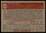 1952 Topps #20 RED Billy Loes  Back Thumbnail