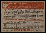 1952 Topps #47 RED  Willie Jones Back Thumbnail