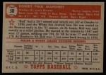 1952 Topps #58 RED  Bob Mahoney Back Thumbnail