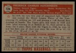 1952 Topps #126   Fred Hutchinson Back Thumbnail