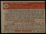 1952 Topps #262   Virgil Trucks Back Thumbnail