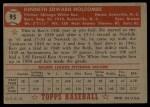 1952 Topps #95   Ken Holcombe Back Thumbnail