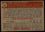 1952 Topps #60 RED  Sid Hudson Back Thumbnail