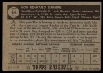 1952 Topps #64 BLK  Roy Sievers Back Thumbnail