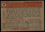1952 Topps #92  Dale Mitchell  Back Thumbnail