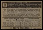 1952 Topps #38 BLK  Wally Westlake Back Thumbnail
