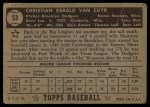 1952 Topps #53 BLK  Chris Van Cuyk Back Thumbnail