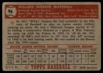1952 Topps #96   Willard Marshall Back Thumbnail