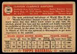 1952 Topps #141   Clint Hartung Back Thumbnail