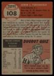 1953 Topps #108   Bob Porterfield Back Thumbnail