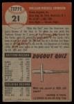 1953 Topps #21   Billy Johnson Back Thumbnail