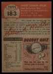1953 Topps #183   Stu Miller Back Thumbnail