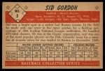 1953 Bowman #5  Sid Gordon  Back Thumbnail