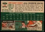 1954 Topps #33  Johnny Schmitz  Back Thumbnail