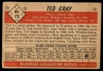 1953 Bowman #72  Ted Gray  Back Thumbnail