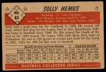 1953 Bowman #85  Solly Hemus  Back Thumbnail