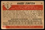 1953 Bowman #86   Harry Simpson Back Thumbnail