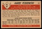 1953 Bowman #87   Harry Perkowski Back Thumbnail