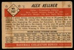 1953 Bowman #107  Alex Kellner  Back Thumbnail