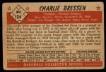 1953 Bowman #124   Chuck Dressen Back Thumbnail