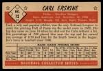 1953 #12  Carl Erskine  Back Thumbnail