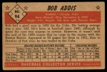 1953 Bowman #94   Bob Addis Back Thumbnail