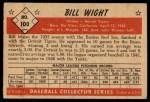 1953 Bowman #100   Bill Wight Back Thumbnail
