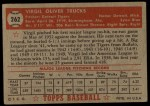 1952 Topps #262   Virgil Trucks Back Thumbnail