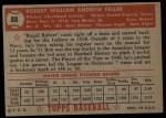 1952 Topps #88   Bob Feller Back Thumbnail