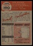 1953 Topps #190  Dixie Walker  Back Thumbnail