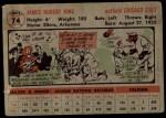 1956 Topps #74   Jim King Back Thumbnail