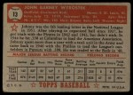 1952 Topps #13 RED John Wyrostek  Back Thumbnail
