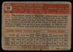 1952 Topps #24 RED  Luke Easter Back Thumbnail