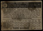 1952 Topps #33 BLK  Warren Spahn Back Thumbnail