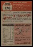 1953 Topps #178  Jim Waugh  Back Thumbnail