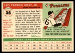 1955 Topps #36   Leo Kiely Back Thumbnail