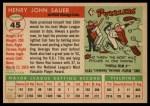 1955 Topps #45   Hank Sauer Back Thumbnail