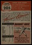 1953 Topps #205  Vern Benson  Back Thumbnail