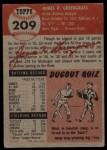 1953 Topps #209   Jim Greengrass Back Thumbnail