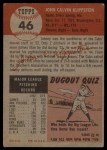 1953 Topps #46   Johnny Klippstein Back Thumbnail