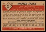 1953 Bowman #99  Warren Spahn  Back Thumbnail