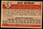 1953 Bowman #68   Allie Reynolds Back Thumbnail