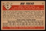 1953 Bowman #16   Bob Friend Back Thumbnail